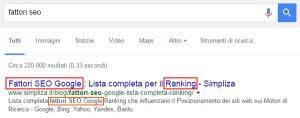"""Come si scrive il tag title? Cosa inserisco nella descrizione meta? Screenshot della prima posizione sulla serp di Google per la voce """"fattori SEO"""""""